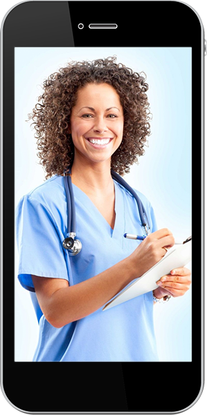Phone with healthcare professional on screen